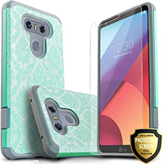 LG V30 Case, LG V30 Plus Case, Starshop [Shock Absorption] Hybrid Rugged Impact Advanced Armor Phone Cover with [Premium HD Screen Protector Included] for LG V30 / LG V30 Plus/LG V30 + (Teal Lace)