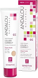 Andalou Naturals 1000 Roses CC Color + Correct Sheer Nude SPF 30, 2 Ounce