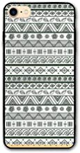 Haixia iPhone 7/8 Protective Case Cover 4.7 Inch Tribal by The Yard Ethnic Aztec Pattern with Primitive Geometric Forms Triangles Background Design Black White
