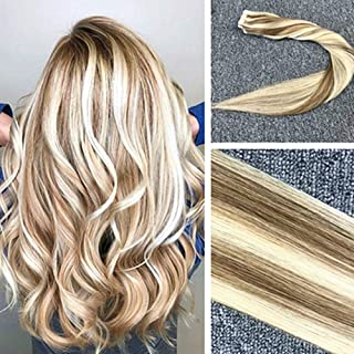 "tianzehair Komorebi 14\, P8/613 Light Brown Mixed With Bleach Blonde: Komorebi 14"" Tape In Hair Extensions 20Pcs Highlight..."