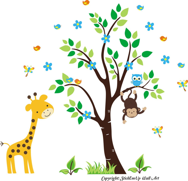 Tall Bargain Giraffe Purchase Wall Decal Safari - Monkey