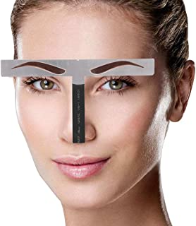 Eyebrow Patterns DIY Stencil, Stainess Steel Eyebrow Ruler Measurement Tattoo Microblading Permanent Makeup Gold Ratio Positioning Tool(Classic eyebrow)