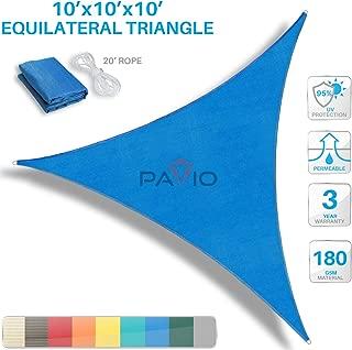 Patio Paradise 10' x 10' x 10' Blue Sun Shade Sail Triangle Canopy, 180 GSM Permeable Canopy Pergolas Top Cover, Permeable UV Block Fabric Durable Outdoor, Customized Available