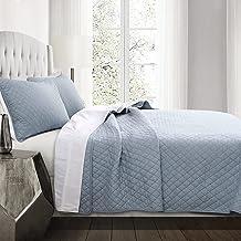 Lush Decor Ava Quilt Diamond Pattern Solid 3 Piece Oversized Bedding Blanket Bedspread Set, King, Blue