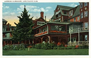 Lake Placid, New York - Exterior View of the Lakeside Clubhouse, Lake Placid Club (9x12 Fine Art Print, Home Wall Decor Artwork Poster)