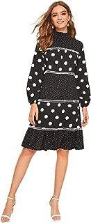 Women's High Neck Polka Dot Frill Ruffle Hem Long Sleeve Color Block Dress