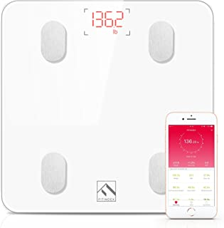 Bluetooth Body Fat Scale, FITINDEX Smart Wireless Digital Bathroom Weight Scale Body Composition Analyzer Health Monitor with iOS and Android APP for Body Weight, Fat, Water, BMI, BMR, Muscle Mass