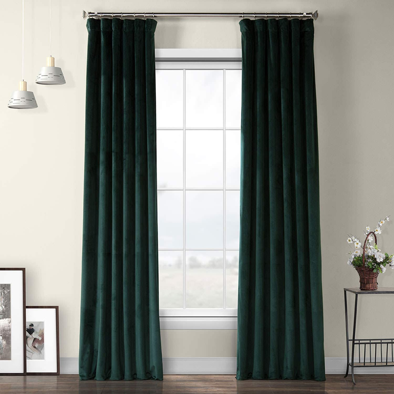 VPYC-179759-96 Heritage Plush Velvet Curtain, 50 x 96, Forestry Green