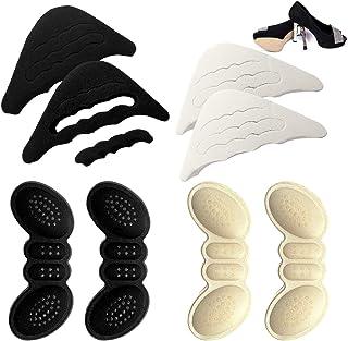 2 Pairs Anti-Slip Granules Heel Cushion Grips Liner Insert and 2 Pairs Toe Filler Plugs, Adjustable Shoe Foot Brace Pads a...