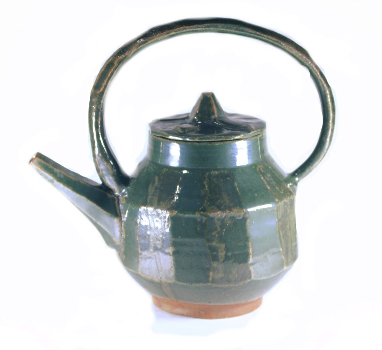 32 oz. Max 74% OFF Quantity limited Green Stoneware Teapot Pottery Wheel Thrown Handmade 4