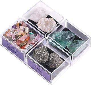 CXD-GEM Natural Gemstone Box Collection Set of 4 Irregular Mineral Rock & Tumbled Stone Display Box