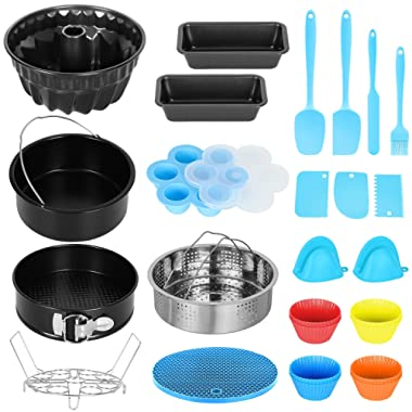Esjay Accessories for Instant Pot 6 8Qt, Cake Pan Set, Cake Barrel, Springform Pan, Fluted Cake Pan, Loaf Pans, Steamer Basket, Egg Bites Molds, Silicone Muffin Cups, Silicone Spatulas, Dough Scraper