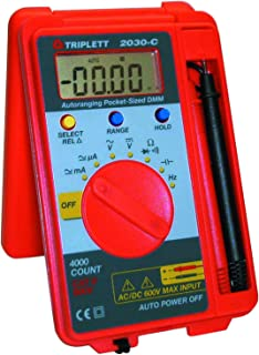 Triplett Pocket-Sized CAT II 4000 Count Digital Multimeter - AC/DC Voltage, AC/DC Current, Resistance, Frequency, Capacitance, Continuity, and Diode Check (2030)