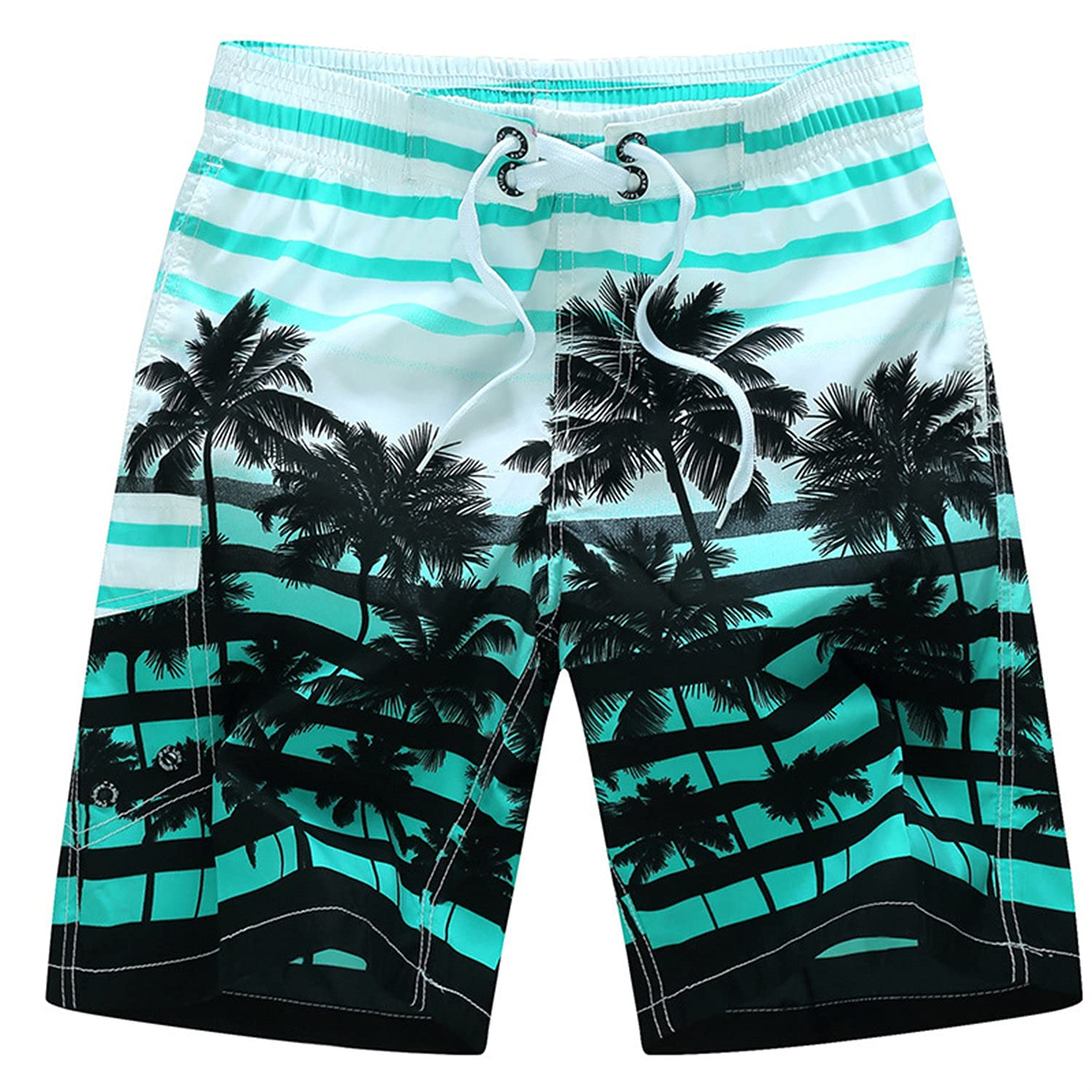 Men's Stripe Coconut Tree Short Swim Trunks Quick Dry Summer Surf Beach Board Shorts with Mesh Lining/Side Pockets (X-Large,Blue)