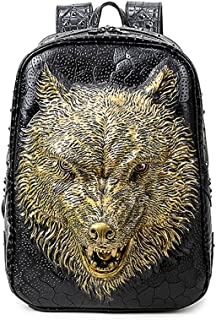 Aibag Personalized 3D Wolf PU Leather Casual Laptop Backpack School Bag