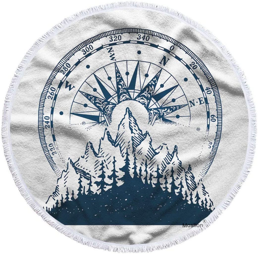 Moslion Compass Max 84% OFF Beach Towel Blanket Nature Fore Mountain Special sale item Vintage