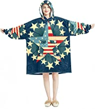Deken Hoodie, Casual Zachte Microfiber Housecoat, Warm Nachthemd voor Mannen Vrouwen met Creatieve Amerikaanse Vlag Sterre...