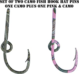 BT Outdoors Custom Colored Eagle Claw Camo Hat Fish Hooks (Set of Two Hat Hook pins) One Camo and One Pink & Camo Hat Hook Clip