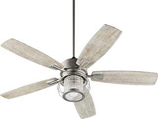 Quorum 3525-65 Protruding Mount, 5 Weathered Oak Blades Ceiling fan with 14 watts light, Satin Nickel