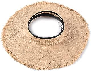 Women's Wide Brim Straw Sun Visor Packable Foldable Sun Visor Beach Open Top Hat