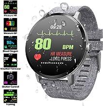 Padgene Pulsera Actividad Reloj Inteligente SmartWatch Deportivo IP67 Bluetooth con Pulsómetro Monitor de Sueño, Música, Cámara Remota, Notificación de Llamada Mensaje para Android e iOS (Gris)