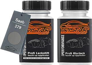 TRISTARcolor Autolack Lackstift Set für Saab 279 Steel Grey Metallic/Stahlgrau Metallic Basislack Klarlack je 50ml