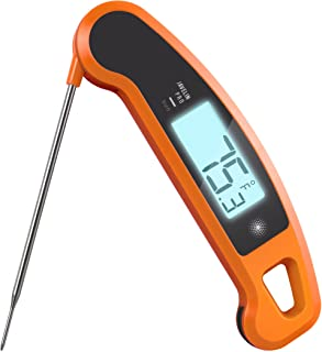 Lavatools Javelin PRO Duo Ambidextrous Backlit Professional Digital Instant Read Meat Thermometer for Kitchen, Food Cooking, Grill, BBQ, Smoker, Candy, Brewing, Coffee, and Oil Deep Frying (Orange)