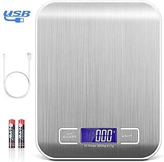 TECHVIDA Báscula Digital de Cocina USB, Báscula Electrónica multifunción de 5 kg con Gran Pantalla LCD, Báscula de Cocina ...