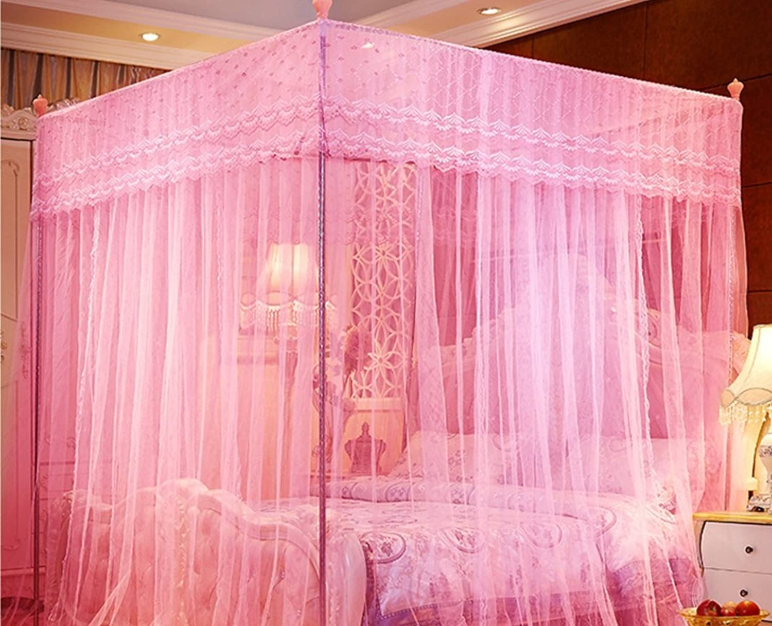 Palace Mosquito Net Floor Type Princess Nets Top Stainless Steel Mosquito Net ZXCV (color   Pink, Size   1.2m2m-22 Bracket)