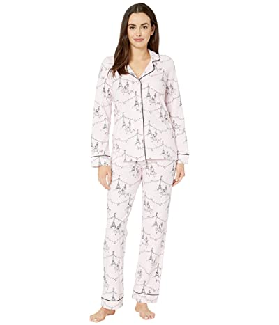 BedHead Pajamas Long Sleeve Classic Notch Collar Pajama Set (Christmas in Paris) Women