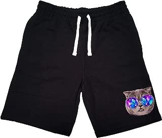 Men's Galaxy Glasses Chubby Cat KT B1291 Black Fleece Jogger Sweatpant Gym Shorts Large Black