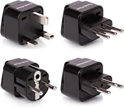 European Travel Adapter Plug Set - Pack of 4 Universal Outlet Adapters for All of Europe (Type C, E, F, G J, L) - Works in France, UK, Switzerland, Spain, Italy, United Kingdom, Germany & Turkey