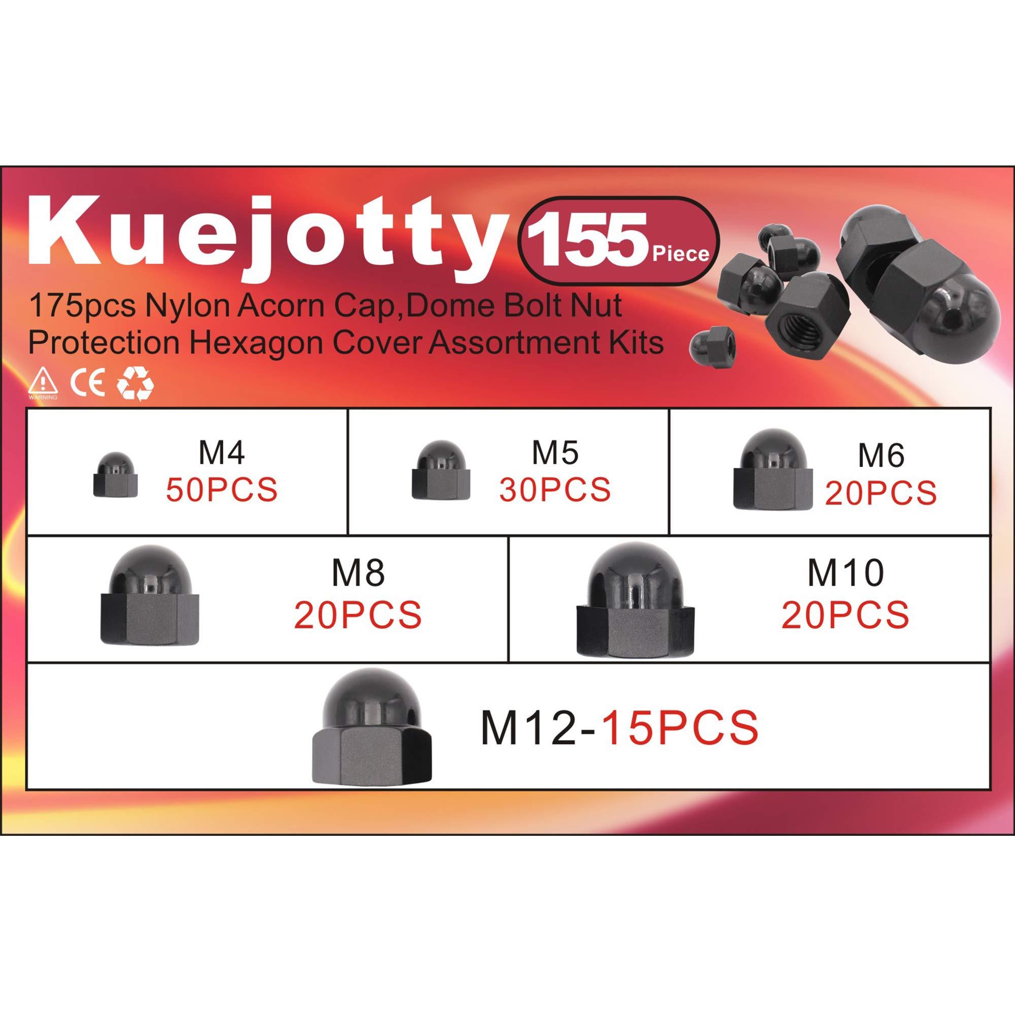 M4 M5 M6 M8 M10 M12 Kuejotty 155pcs Black Dome Acorn Bolt Cap Nuts Hex Protector Cap Assortment Kit,6 Sizes