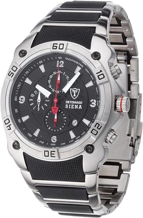 Detomaso mtm8806c-bk1 orologio da polso, cronografo da uomo, cinturino in acciaio inox, multicolore