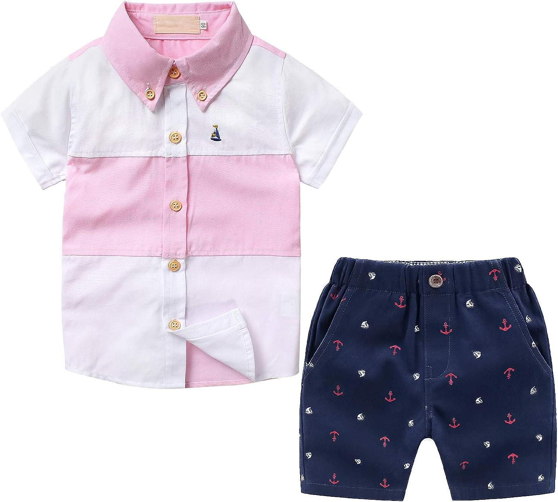 Boys 5 ☆ very popular Summer Clothes Sets Little Boy Down Kha Popular brand Tops Shirt + Button
