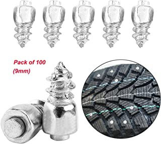 Estink Snow Tire Studs,Anti-Slip Screw Stud Tyre Snow Chains Tire Spikes Trim for Motorcycle Car Truck (Pack of 100,9mm)