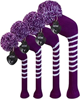 Scott Edward Golf Head Covers Set of 4 Handmade Knit Item Made of Soft&Elastic Material Fit Over Well Driver Wood(460cc) Fairway Wood2 and Hybrid(UT)