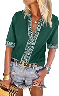 CILKOO Women's Ladies Tops Elegant Bohemian Embroidered Short Sleeve V Neck Blouse Flowy Tee Shirts Green US18-20 XX-Large