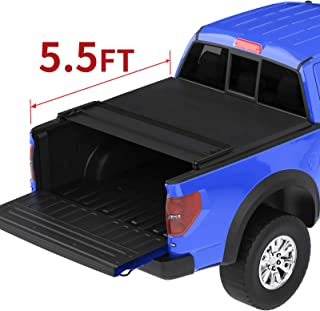 oEdRo Quad Fold Tonneau Cover Soft Four Fold Truck Bed Covers Compatible for 2015-2019 Ford F-150 F150 with 5.5 Feet Bed, Styleside