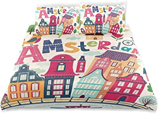 JOSENI Duvet Cover Set Cartoon Style Amsterdam Architecture Illustration with Colorful City Icons and Trees Decorative 3 Piece Bedding Set with 2 Pillow Shams Queen Size