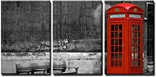 wall26 - 3 Piece Canvas Wall Art - British Phone Booth with Weathered Wooden Bench - Modern Home Decor Stretched and Framed Ready to Hang - 16