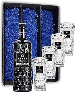 Three Sixty Set Geschenkset  Three Sixty Black Vodka Wodka 0,7L 700ml 42% Vol  4x GläserLongdrinkgläser Glas 300ml aus rein weißem Brillanz-Glas Bar Cocktail - Enthält Sulfite
