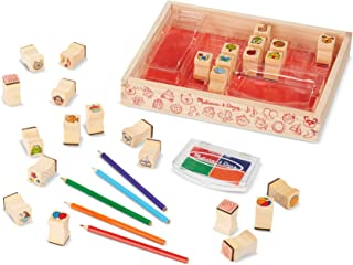Melissa & Doug Wooden Favorite Things Stamp Set (Arts & Crafts, Sturdy Wooden Storage Box, Washable Ink, 26 Pieces, Great Gift for Girls and Boys - Best for 4, 5, 6 Year Olds and Up)