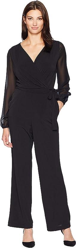 V-Neck Chiffon Sleeve Jersey Jumpsuit