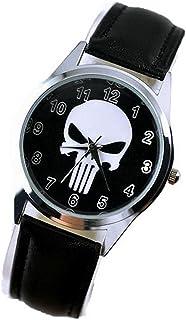 Fashion Kid UNG23 Marvel Super Hero The Punisher Fashion Skull Reloj de pulsera negro
