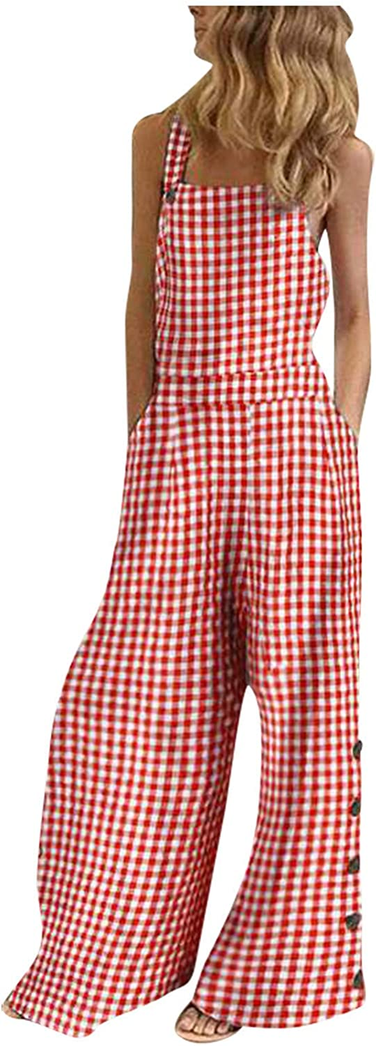 Women's Plus Size Sleeveless Plaid Leg Overa Pants Wide Jumpsuit Limited Seattle Mall time trial price