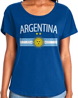 Amdesco Ladies Argentina Flag with Argentine Sun Crest Dolman T-Shirt