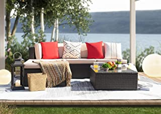 KaiMeng Patio Outdoor Furniture Sets 5 Pieces All Weather Rattan Sectional Sofa Wicker Manual Garden Conversation Set Cushioned with Glass Table (Beige)