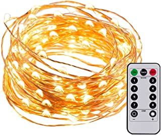 LED String Lights Fairy Lights 32.8ft 100 LEDs Battery Operated with Remote Waterproof Copper Wire Lights for Party Festival Ceremony Indoor and Outdoor Decorative Starry Lights (Warm White)