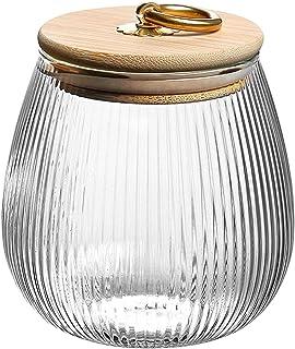 Meijunter Boîte à Thé Scellée Transparente, Bocaux en Verre de Stockage des Aliments avec Couvercle en Bambou Bouteille de...